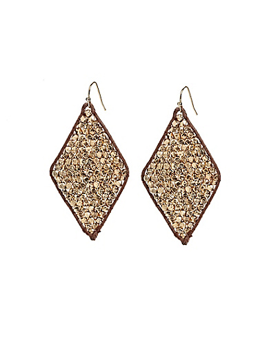 Gold Beaded Diamond Earrings