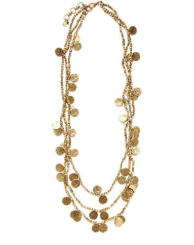 Gold Collar Beaded Disk Necklace