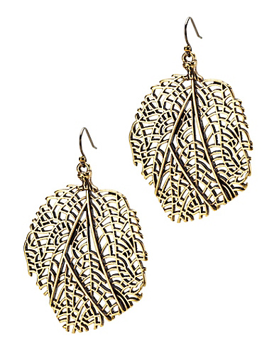 Gold Coral Fan Drop Earrings
