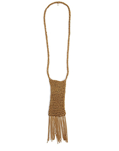 Gold Crochet Pouch Necklace