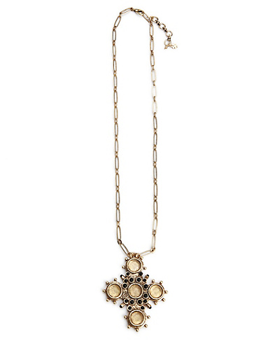 Gold Cross Set Stone Necklace*