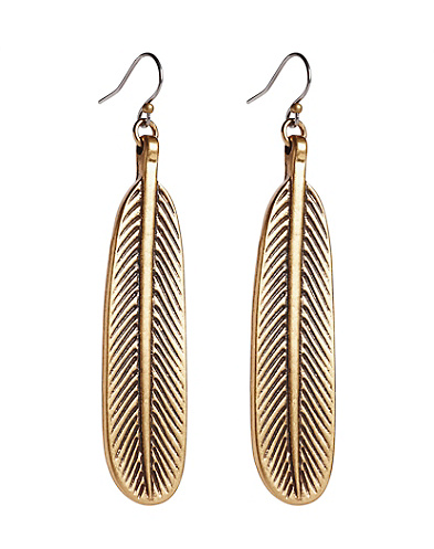 Gold Feather Oblong Earrings
