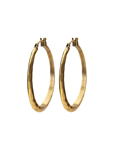 Gold Hammered Round Hoop Earrings
