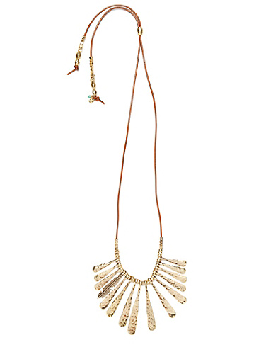 Gold Metal Fan Necklace