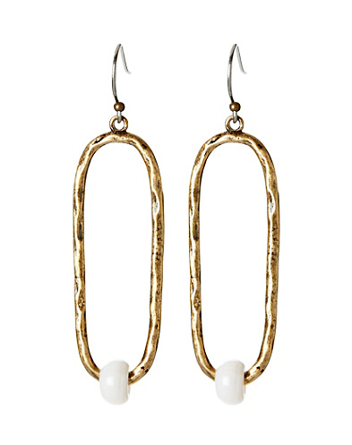 Gold Oblong Drop Earrings With Mother-Of-Pearl Beads