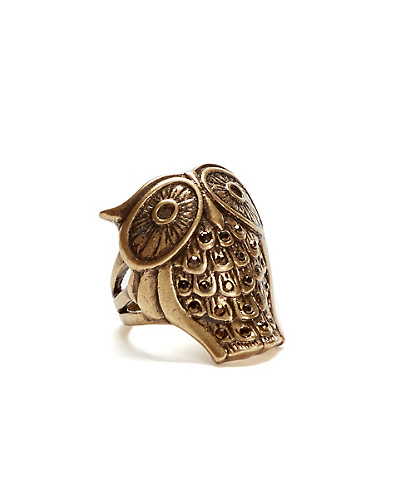 Gold Owl Pave Ring