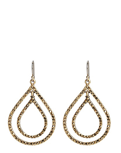 Gold Pave Double Teardrop Earrings*