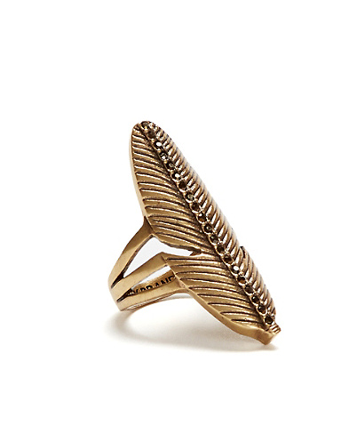 Gold Pave Feather Ring