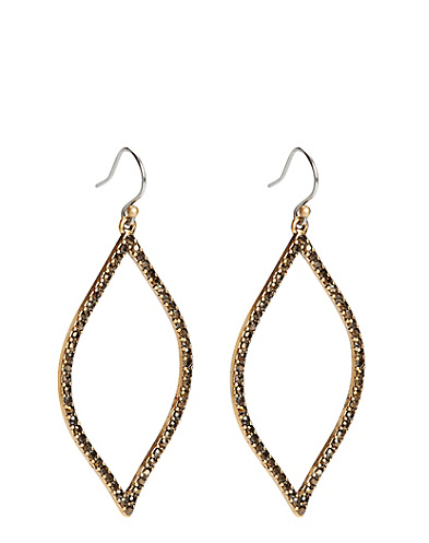 Gold Pave Oblong Earrings