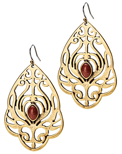 Gold Set Stone Openwork Earrings*