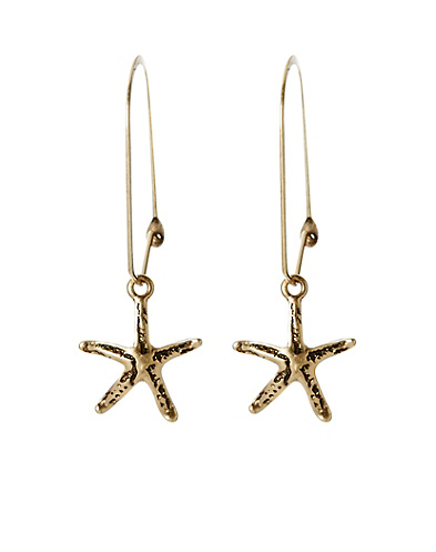Gold Starfish Hoop Earrings