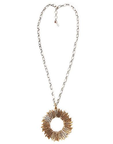Gold Sunburst Pendant Necklace*