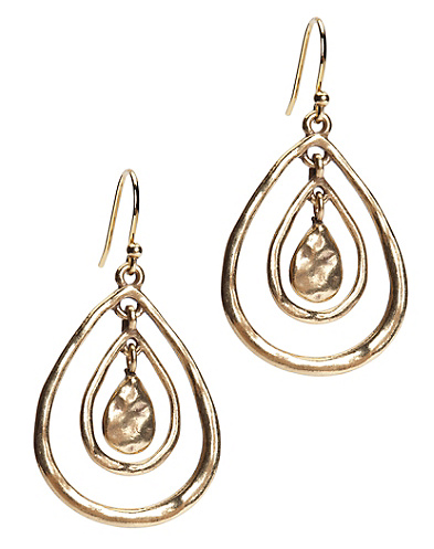 Gold Triple Teardrop Hoop Earrings
