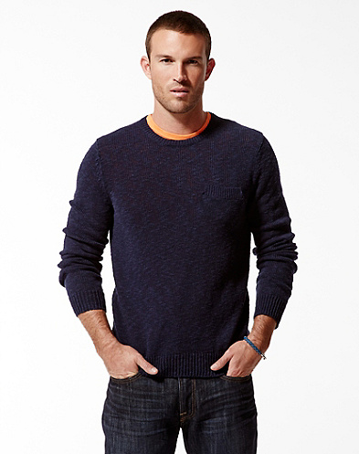 Grayson One-Pocket Slub Crew Sweater