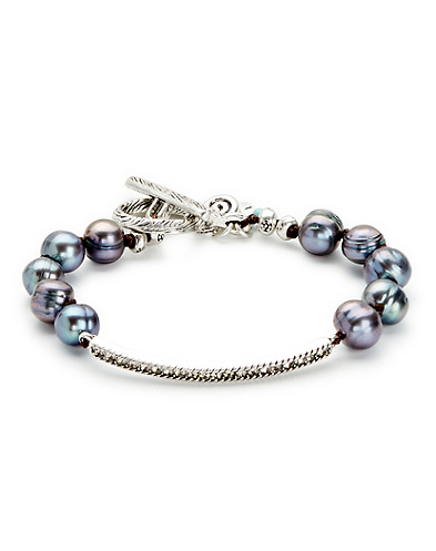 Grey Pearl and Pave Bracelet