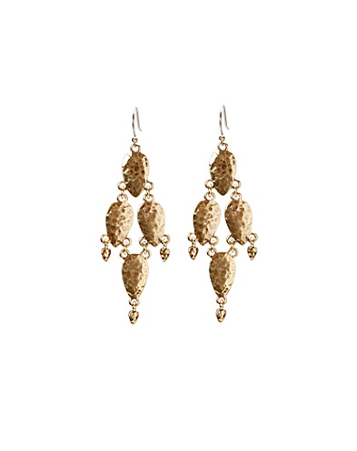 Hammered Gold Chandelier Earrings