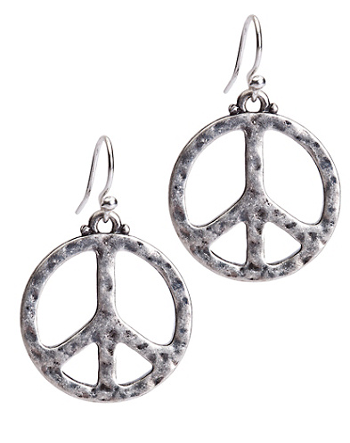 Hammered Peace Earrings