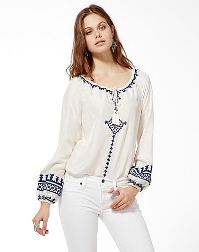 Irving &amp; Fine Embroidered Peasant Top