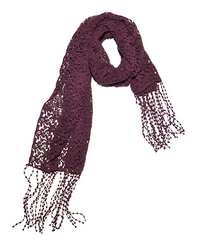 Seaman's Style Scarf In Crocheted Spider Lace and Blocks Design