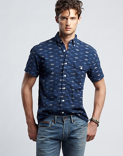 Lagoon One-Pocket Ikat Shirt*