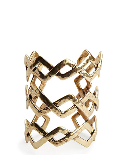 Large Gold Zig Zag Cuff*
