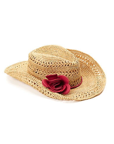 Leather Flower Straw Cowboy Hat*