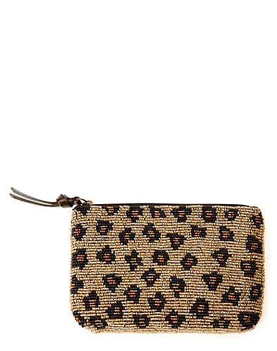 Leopard Seed Bead Leather Zip Pouch*