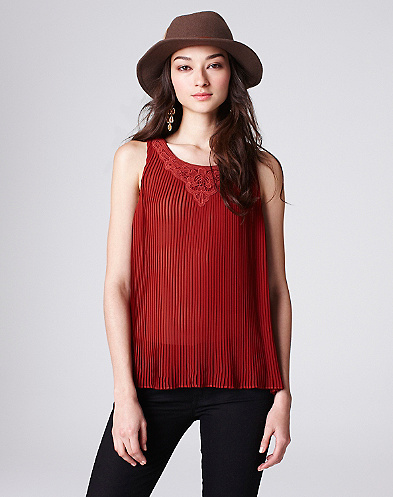 Lindsey Pleated Lace Tank*