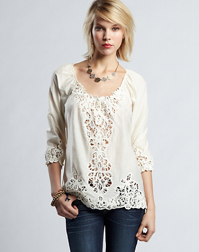 Lizzie Battenberg Lace Top*