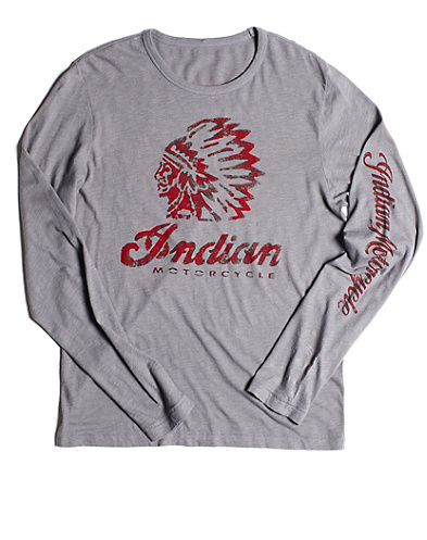 Long-Sleeve Indian Stencil T-Shirt