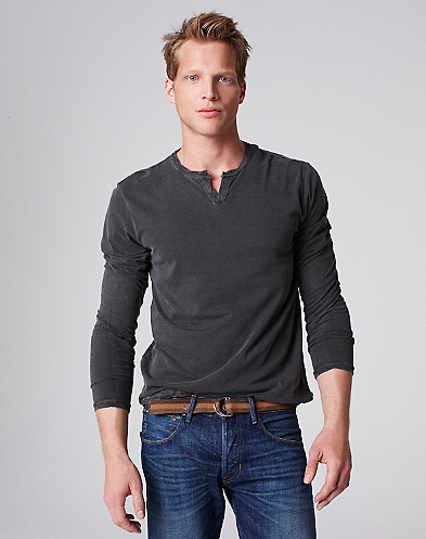 Long-Sleeve Split V-Neck T-Shirt