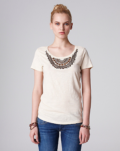 Metallic Beaded Neck T-Shirt*