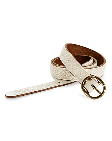 Neutral Embroidered Skinny Belt
