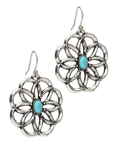 Openwork Flower Drop Earrings