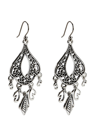 Openwork Oblong Earrings With Dangles