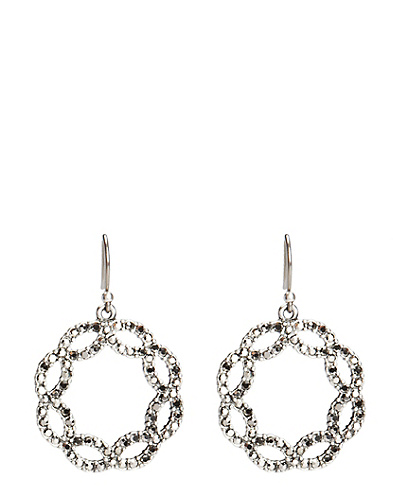 Openwork Pave Hoop Earrings*