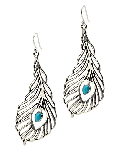 Openwork Peacock Feather Earrings