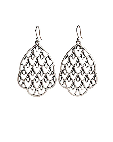Openwork Silver Drop Earrings