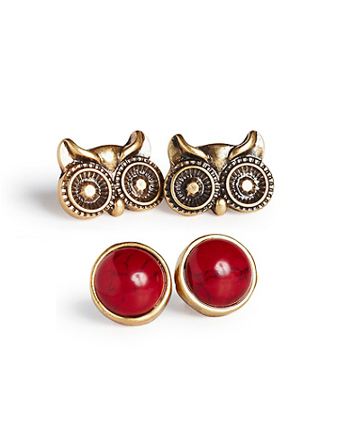 Owl Stud Earring Set