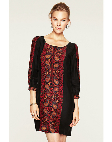 Paisley Panel Shift Dress*