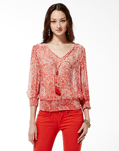 Palisades Knotted Flowers Smocked Top