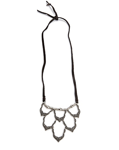 Pave Bib Necklace With Leather Cord