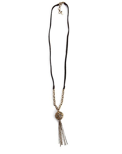 Pave Gold Ball Tassle Necklace*