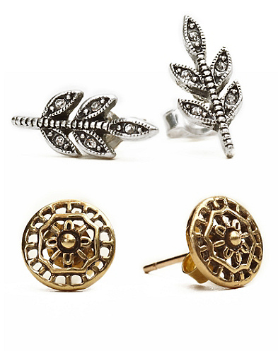 Pave Leaf and Openwork Stud Earrings*