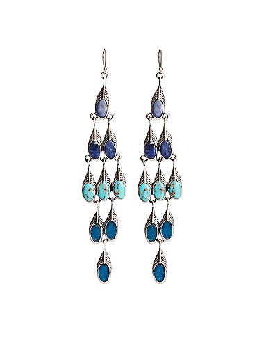 Peacock Feather Chandelier Earrings*