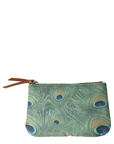 Peacock Printed Canvas Zip Pouch