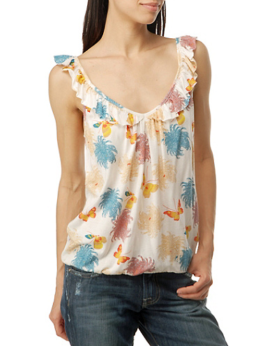 Printed Ruffle Neck Cami*