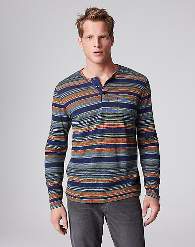 Printed Striped Henley*