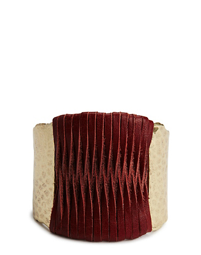 Red Leather Woven Cuff