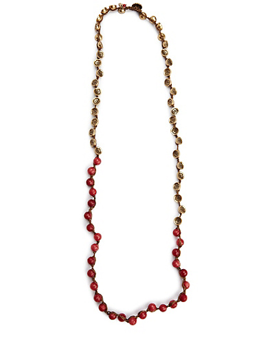 Red and Gold Colorblocked Necklace